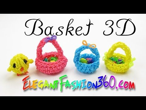 Rainbow Loom Basket 3D Easter - How to Loom Bands Tutorial - YouTube