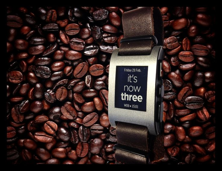 Pebble on chocolate brown NATO strap with Fuzzy English Plus watchface.
