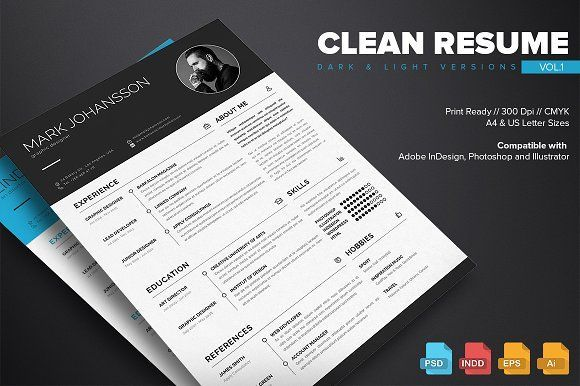Clean Resume Template Vol.1 by Kovalski on @creativemarket