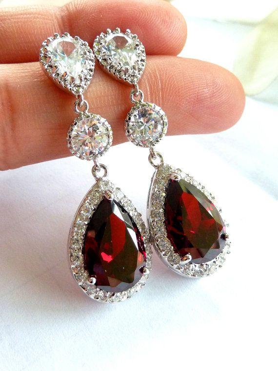 Wedding Bridal Earrings -LARGE Halo Dark Red Garnet Peardrop Cubic Zirconia, Round CZ Drop, White Gold Plated Peardrop CZ Post Earring