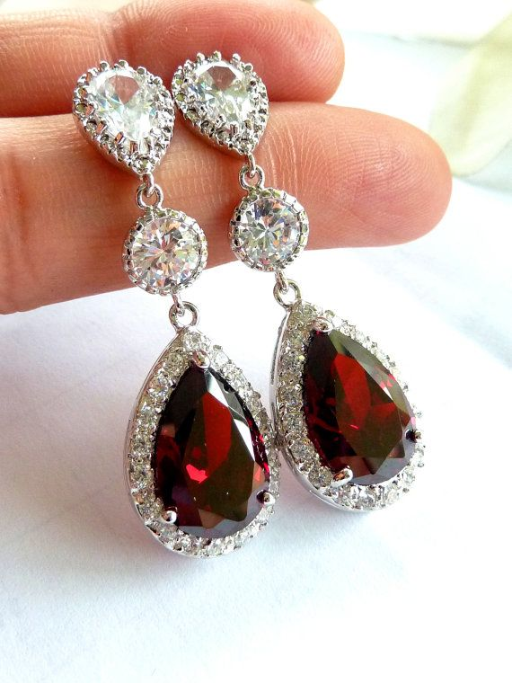 Wedding Bridal Earrings -LARGE Halo Dark Red Garnet Peardrop Cubic Zirconia, Round CZ Drop, White Gold Plated Peardrop CZ Post Earring