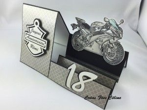 Carte anniversaire, moto