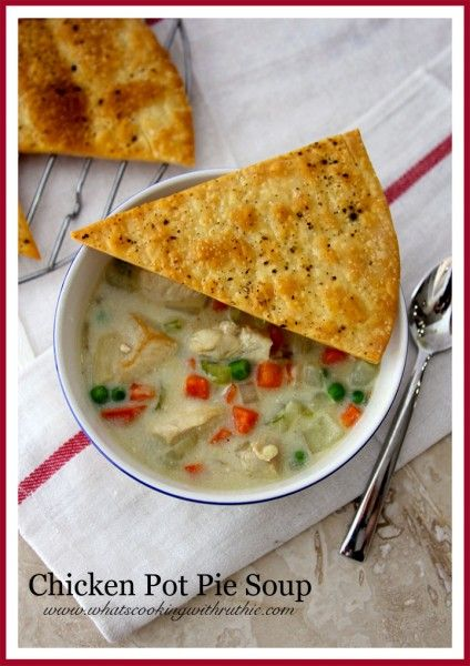 Chicken Pot Pie Soup is warm and cozy for these cold winter nights! Easy to make too! @whatscookingwithruthie.com #recipes #chicken #soup
