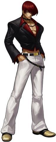 Outfit de Iori en The King Of Fighters XIII. A partir de The King Of Fighters XII, el personaje no tiene flamas, porque en el juego KOF XI, Ash le quita sus flamas cuando este se corrompe por la Maldición de Orochi.  © 2012 SNK PLAYMORE CORPORATION.