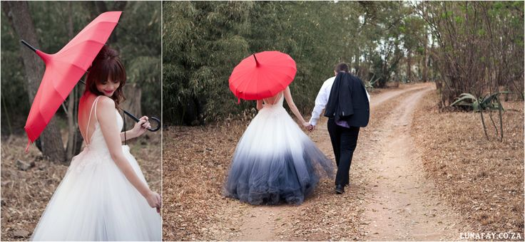 Red, Navy, White Wedding. Red Colour palette, Modern Wedding, Ombre Wedding Dress, Red Wedding Umbrella www.lunafay.co.za