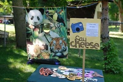 Animal theme birthday party photo fun.