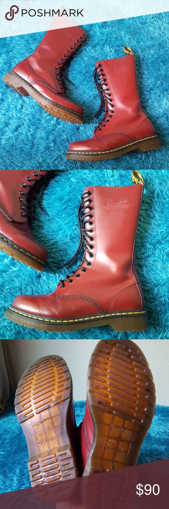 ❤SALE❤Dr. Marten 14 Eye Oxblood Red Boots Size 8 Worn only a few times. Like new condition except for scuff marks on the toe ( see last pics). Leather os still stiff and hasn't been worn in at all! 🥀 14 Eye Oxblood Red. Dr. Martens Shoes Lace Up Boots