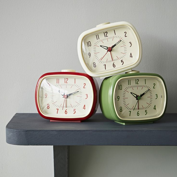 These happy little retro alarm clocks with glow in the dark hands will be sure to wake you up with a smile.
