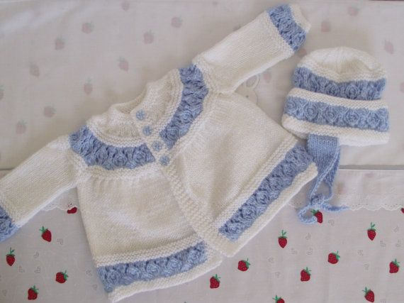 hand knitted   pretty jacket and bonnet  set baby / by bythemill - inspiration!