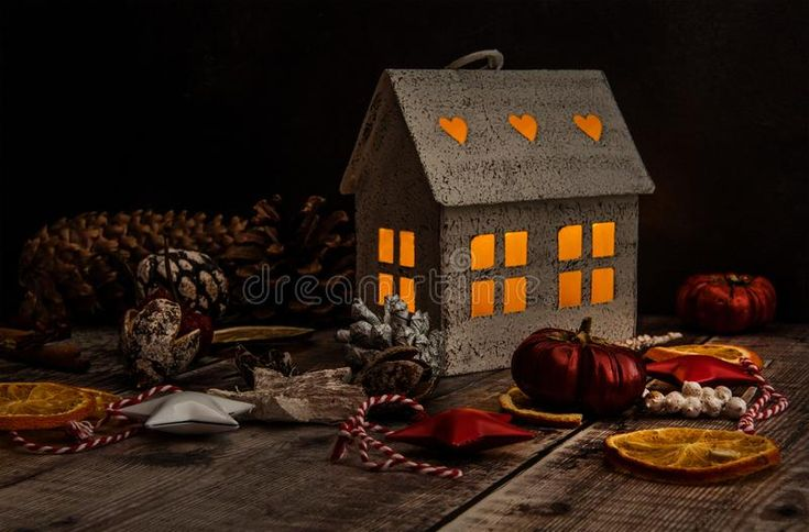 Download Hygge House With Christmas Decorations Stock Photo - Image of homely, background: 105147286