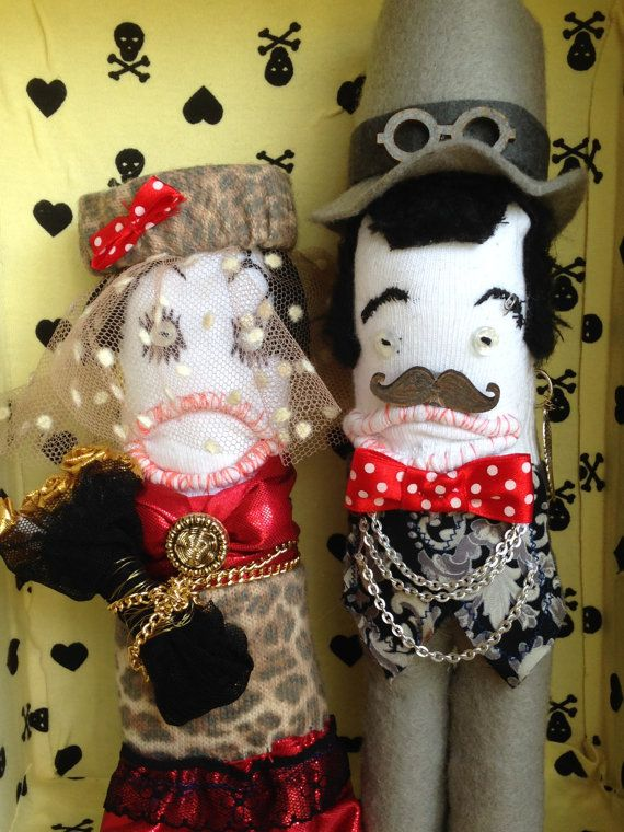 Wedding sock plush bride and groom wedding keepsake Mr by artdp