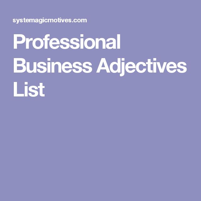 Professional Business Adjectives List