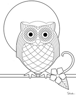 owl printable- cut out owl...make moon be a painted paper plate and attach a real stick  to the owls feet as his perch