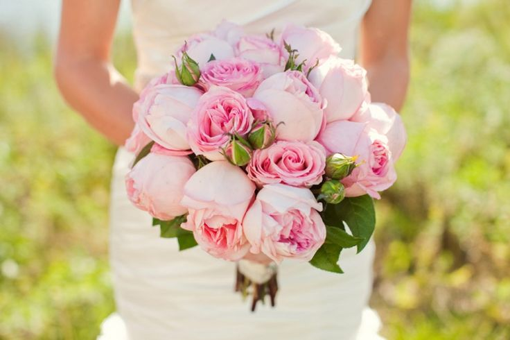 Bridal bouquet, cabbage roses » Ashley Biess Photography