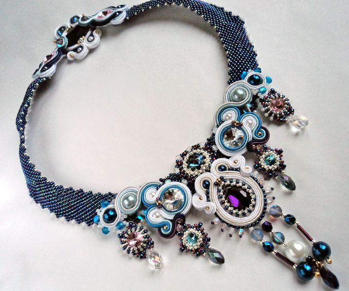 Necklace soutache + beading with crystals - Śnieżynka w VAKARAS Jewellery by Slomkad na DaWanda.com