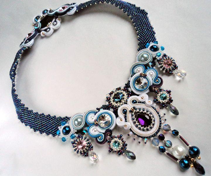 Necklace soutache + beading with crystals - Śnieżynka w VAKARAS Jewellery by Slomkad na DaWanda.com