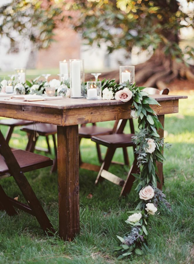 Farm Table with a Greenery Runner | Cassidy Carson Photography | Elegant Natural Fall Wedding in Marsala