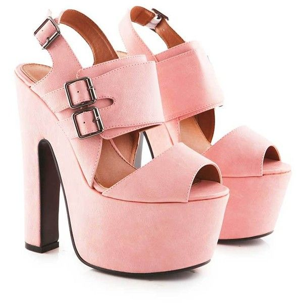 Dorine PU Chunky Wedge Shoe with Buckles in Pink (345 ARS) ❤ liked on Polyvore featuring shoes, heels, high heels, zapatos, pink, polyurethane shoes, platform shoes, open toe platform shoes, pink shoes and chunky platform shoes
