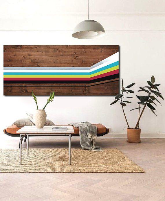 Metal Wall Art Wood Wall Art Modern Geometric Painting Home