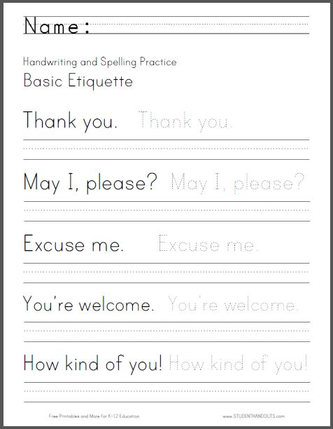 Basic Etiquette Handwriting and Spelling Worksheet - Free ...