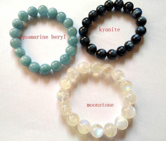 ==> [Free Shipping] Buy Best wholesale 3strands 6-16mm Genuine moonstone Bracelet kaynite stone aquamarine beryl bead Round Ball charm bracelet Online with LOWEST Price | 32776389699