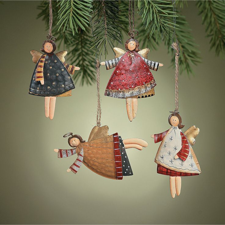12 Rustic Metal DANCING ANGEL ORNAMENTS Dozen Country Christmas Decorations