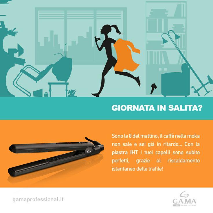 Giornata in salita? Per chi è sempre di corsa, la #piastra IHT è lo strumento ideale: #styling velocissimo, grazie al riscaldamento istantaneo delle trafile! // For women always in a rush, IHT #styler is ideal, for a precise and super-quick #styling thanks to Instant Heat Technology!  www.gamaprofessional.it/Piastre/IHT #hairstraighteners #hair #straightener #straighteners #piastre #hairstraightener #capelli #gama #gamaitalia #gamaprofessional #beautytechnology #haircare #beauty #bellezza