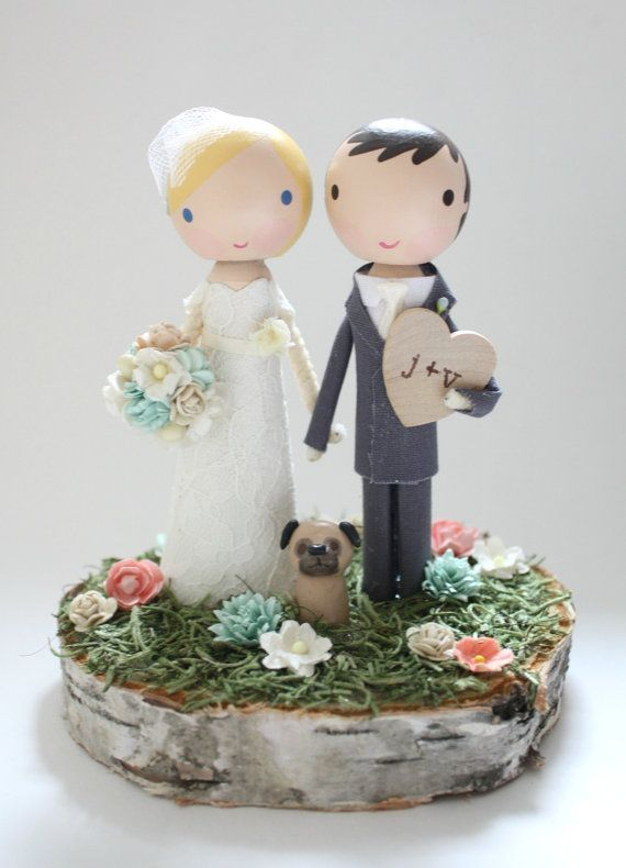 Materials: wood, cotton, paint, glue, love...this listing is for one custom handmade wedding cake topper with 4-5 wood slab base. (pets, wood valentine, and larger size slabs are