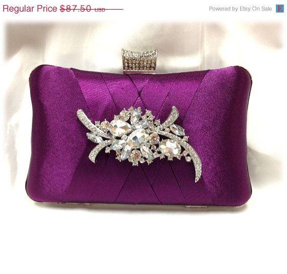 wedding clutch, Bridal clutch, Purple clutch, evening bag, Modern clutch, bridesmaid bag, crystal clutch
