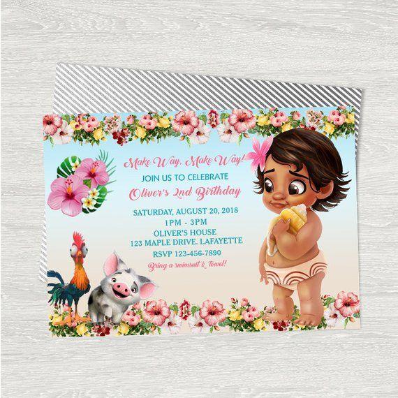 baby moana invitation card baby moana