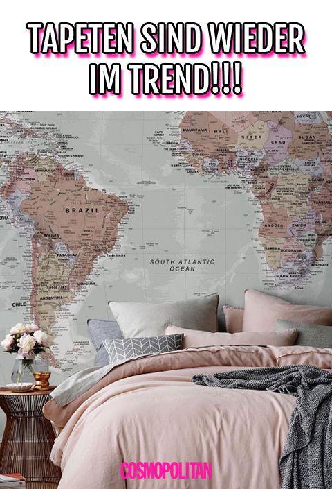 Wir lieben (nicht nur) diese Weltkarten-Tapete - HIER gibt es sie...