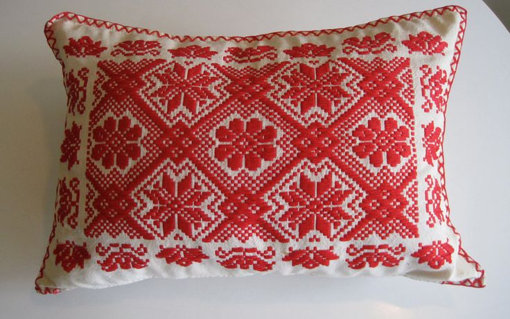 Vintage Handmade European Folk Art Red Embroidery