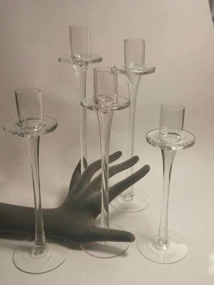 NIB, 5 Candlesticks, Graduating Cnadlesticks Handblown, International Silver Company, Clear Glass Candlesticks, Glass Candle Holders, NBU by MillysAtticTreasures on Etsy