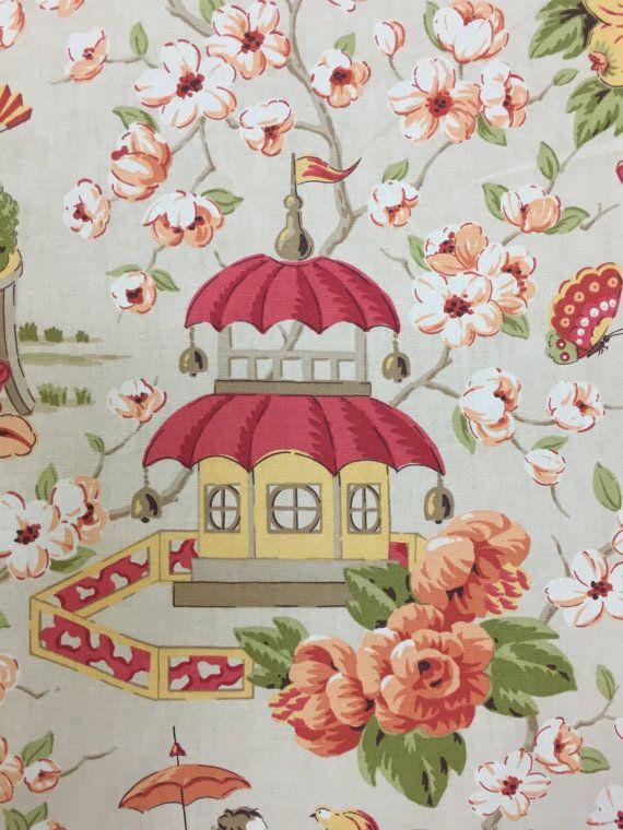 Peach Blossom Chinoiserie  Asian Garden Toile  by ShopMyFabrics