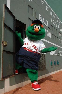 Wally Green monster RedSox Mascot ~ Not quite as good as the day Bobby Orr came out of the left field wall to say hey to Jason Bay, but still it's Wally!!!