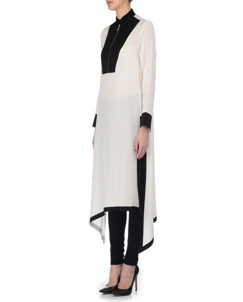 Ivory and Black Tunic with Asymmetric Hemline - Rishta by Arjun Saluja - Designers