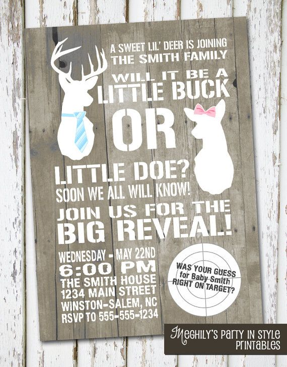 Hunting Theme - Deer Gender Reveal Invitation Good.