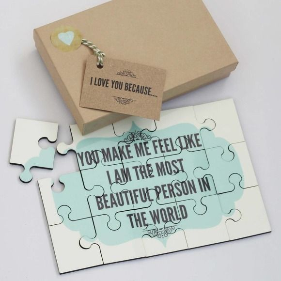 Personalised I love you because… wooden jigsaw   hardtofind.
