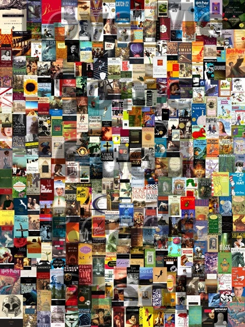 Classic Book Covers Collage ~ Literature classics book poster collage club