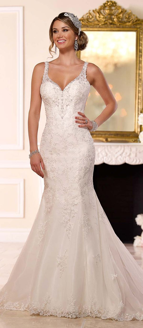 Best 25 wedding dresses with straps ideas on pinterest lace alluring tulle spaghetti straps neckline mermaid wedding dresses with sequin lace appliques junglespirit Images