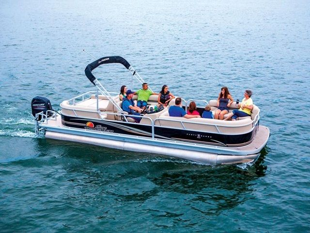 2014 Sun Tracker Signature Party Barge 24 DLX for sale at Bradford Marine & ATV.