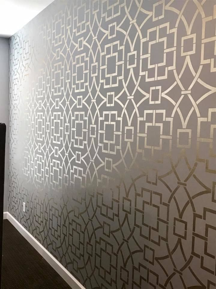 A Diy Metallic Stenciled Bedroom Accent Wall Tea House Trellis Wall Stencil Project By Beautiful On Accent Wall Bedroom Stencils Wall Trellis Wall Stencil