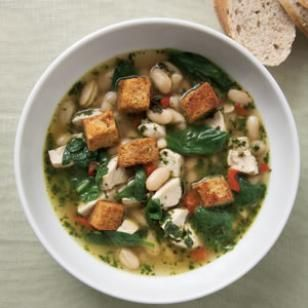 This fragrant, Italian-flavored soup takes advantage of quick-cooking ingredients—boneless, skinless chicken breast, bagged baby spinach and canned beans.