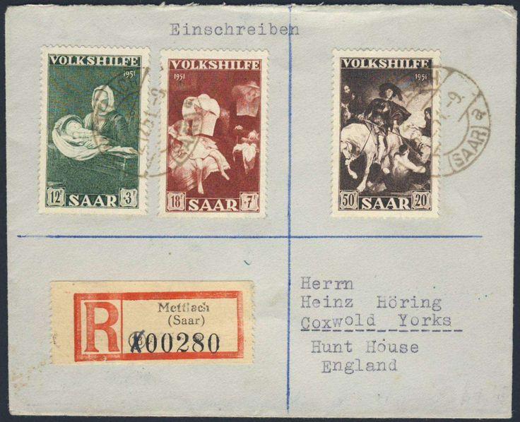Germany, Saar, Saarland 1951, Volkshilfe 12 Fr., 18 Fr. und 50 Fr. auf R-Brief (Frankatur 80 Fr. statt 75 Fr.), von Mettlach nach England (Mi.EUR 298.--). Price Estimate (8/2016): 70 EUR.