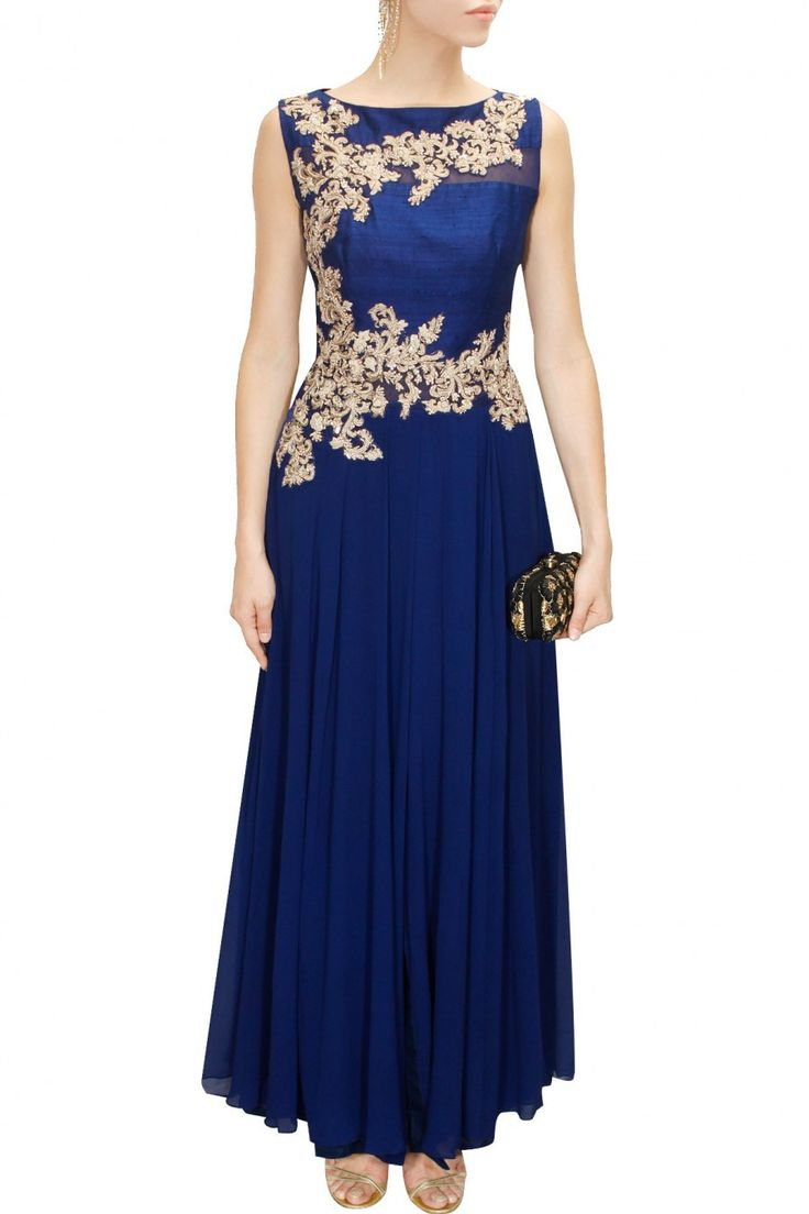 This blue anarkali is featuring in silk georgette anarkali with zari, tikki and resham floral embroidered panel and sheer net inserts at back with long slit in centre. This blue anarkali comes along w