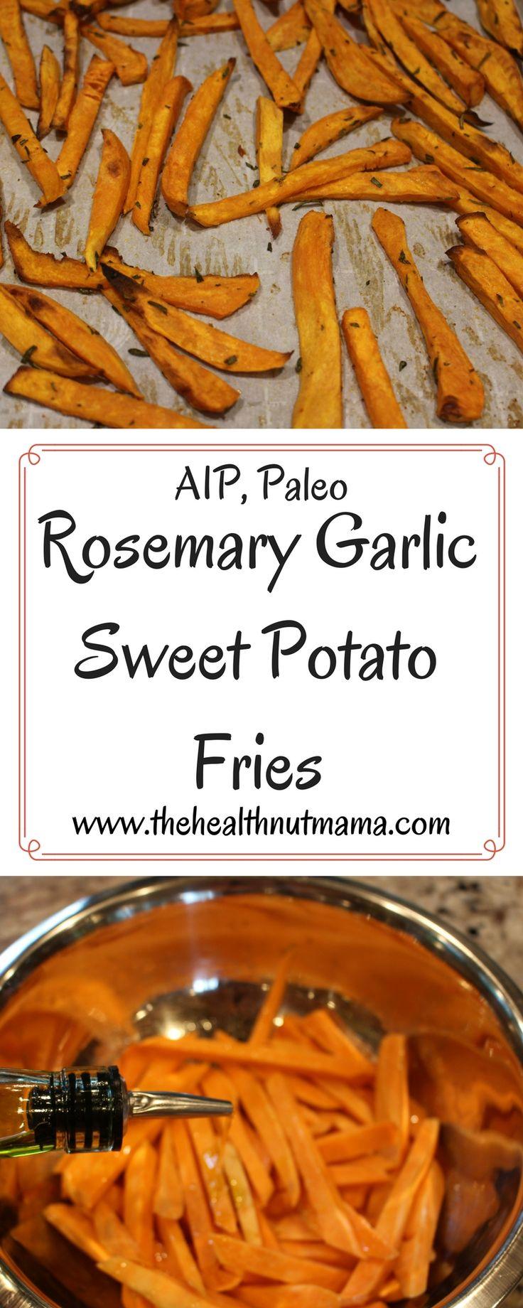 Quick & Delicious Rosemary Garlic Sweet Potato Fries! (AIP, Paleo) www.thehealthnutmama.com