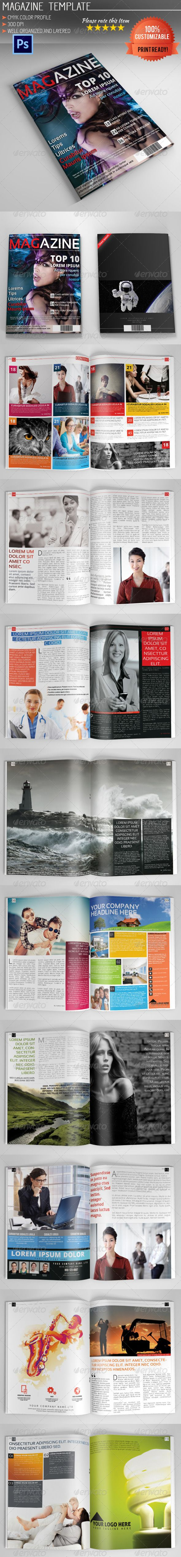 Photoshop Magazine Template Vol.3  #GraphicRiver        Photoshop Magazine Template Vol.1  20 Pages Professional and clean magazine template. Fully layered and very easy to customize. Designed with adobe photoshop CS5 (works with CS2 and higher).    Smart Objects ( Help! )  CMYK Colors  300DPI  Print Ready  20 Pages  A4  Free Fonts Used:   .fontsquirrel /fonts/Sansation   .fontsquirrel /fonts/open-sans  *Photos in the preview image are NOT included!   Please don't forget to rate my items…