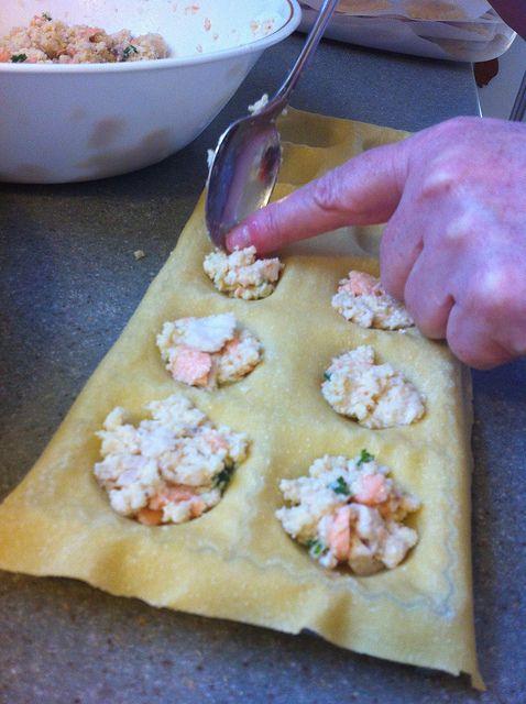 Seafood ravioli assembly by @atgmeup