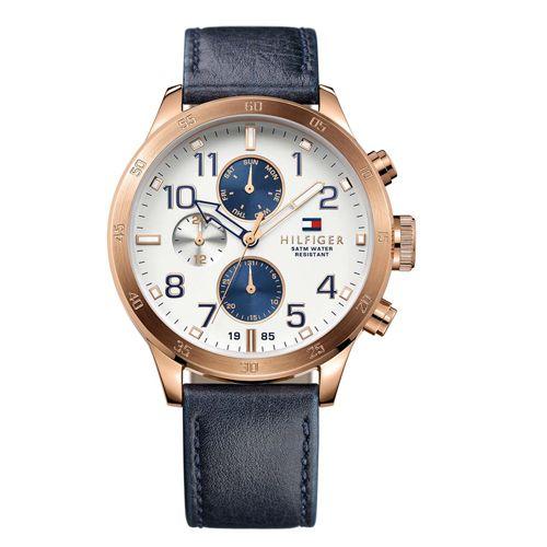Relógio Masculino Tommy Hilfiger Aço Dourado e Couro Azul Marinho. 1791139.Vivara