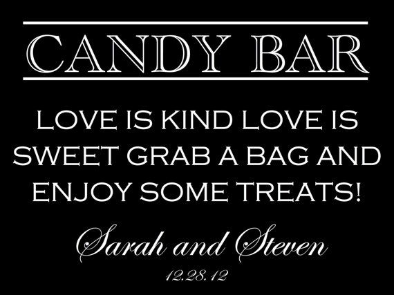 Sign for the Candy Bar